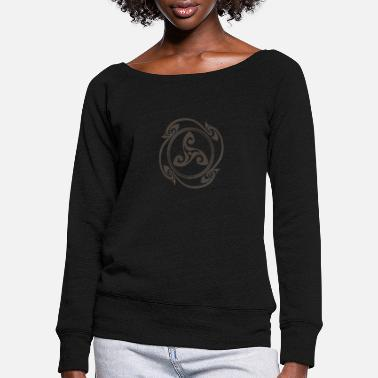 Symbol Latene Celtic symbol mottled gray - Women's Wide-Neck Sweatshirt