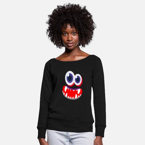 Shrovetide Long Sleeve Shirts - Carnival Mardi Gras Face Carnival - Women's Wide-Neck Sweatshirt black
