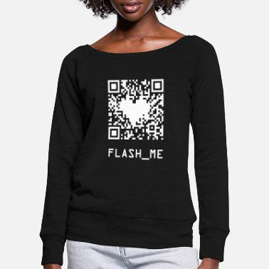 Qrcode qrcode wite - Women's Wide-Neck Sweatshirt