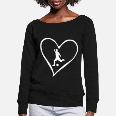 Grass Football love - Women's Wide-Neck Sweatshirt