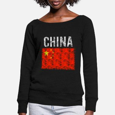Beijing China flag vintage - Women's Wide-Neck Sweatshirt