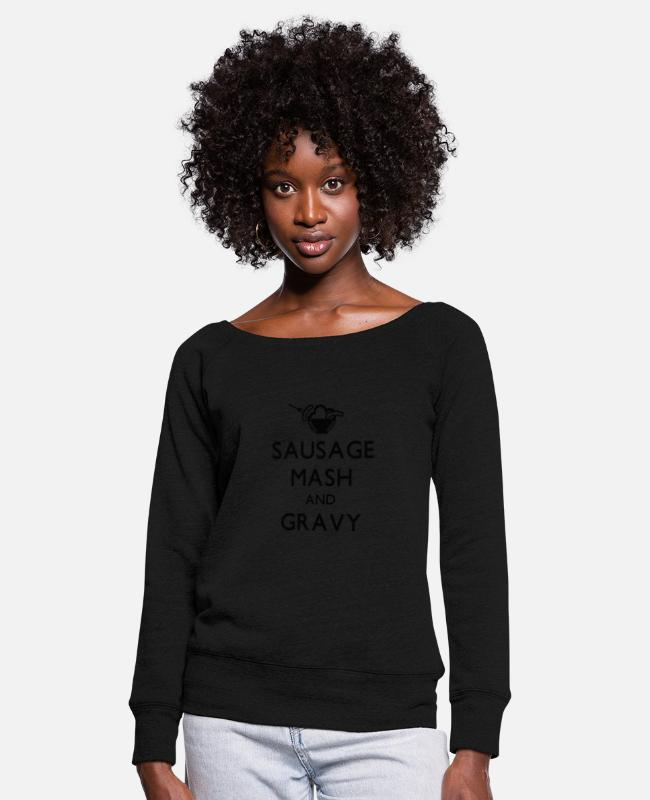 Sausage Long-Sleeved Shirts - Sausage Mash and Gravy - Women's Wide-Neck Sweatshirt black