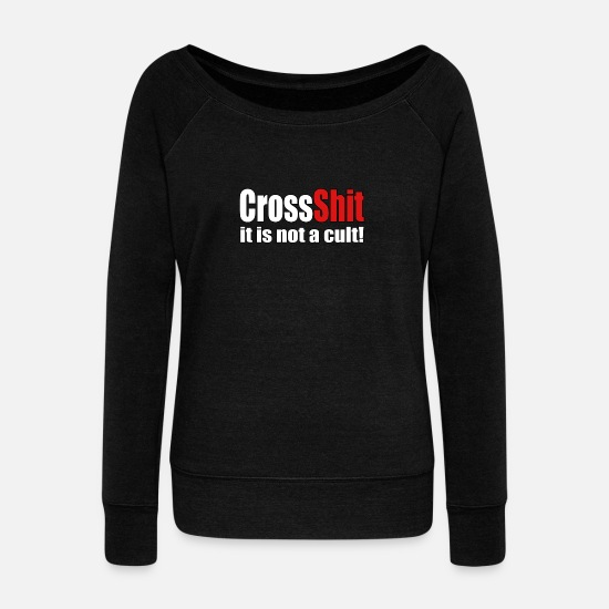 Exercise Long sleeve shirts - CrossShit Not a Cult - Women's Wide-Neck Sweatshirt black