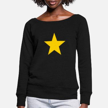 Star yellow star - Women's Wide-Neck Sweatshirt