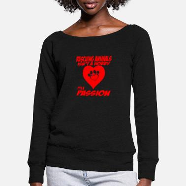 Animal rescuing animals - Women's Wide-Neck Sweatshirt