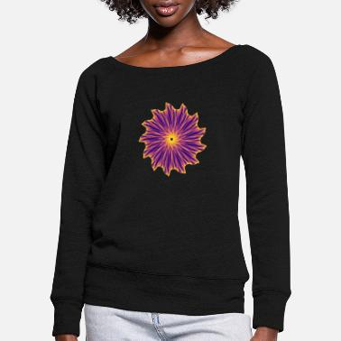 Science Chakra Mandala Mantra OM Chaos Star Circle 9112pla - Women's Wide-Neck Sweatshirt