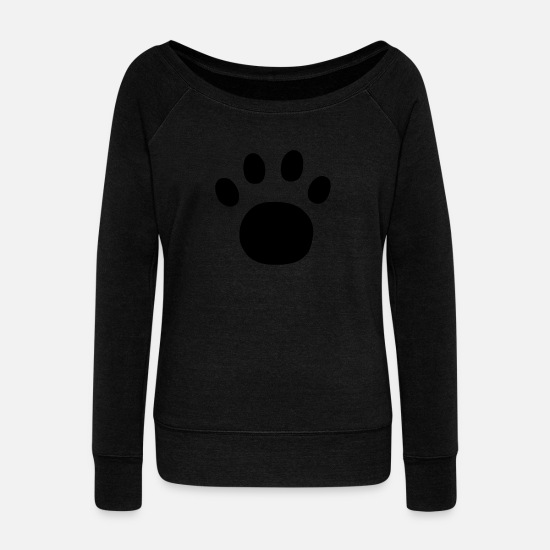 Pawprint Long Sleeve Shirts - Paw Print - Women's Wide-Neck Sweatshirt black
