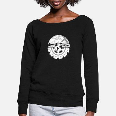 Agriculture farm gift · tractor tire - Women's Wide-Neck Sweatshirt