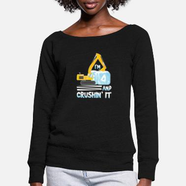 Forklift I´m 4 And Crushin It For Excavator Birthday For - Women's Wide-Neck Sweatshirt