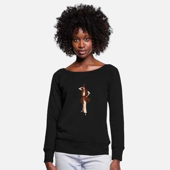 Mood Long Sleeve Shirts - Brown character - Women's Wide-Neck Sweatshirt black