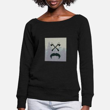 Glass Underwear Hipster responsibility beard glasses ax forest - Women's Wide-Neck Sweatshirt