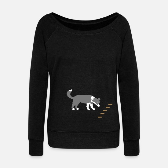 Border Long Sleeve Shirts - Obedience 1 - Women's Wide-Neck Sweatshirt black
