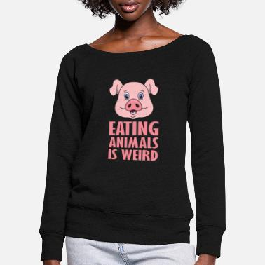 Vegetarian Vegetarian animal welfare vegan vegetarian veggie - Women's Wide-Neck Sweatshirt