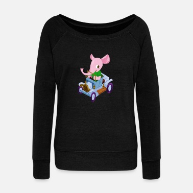 Vintage Elephant in a vintage car - Women's Wide-Neck Sweatshirt