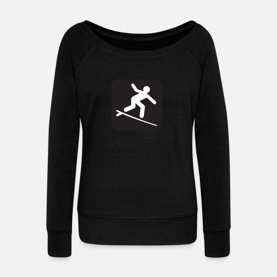 Surfing Long sleeve shirts - Surfing poster black - Women's Wide-Neck Sweatshirt black