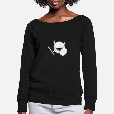 Holzschild white vEYEking 3 White Viking eye with weapons - Women's Wide-Neck Sweatshirt