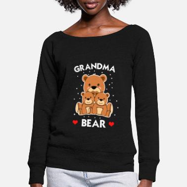 Grandmother Grandmother grandmother grandchildren bear - Women's Wide-Neck Sweatshirt