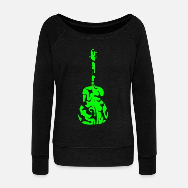 Guitar Tribal - Women's Wide-Neck Sweatshirt