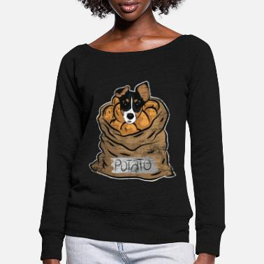 Snack Dog potato - Women's Wide-Neck Sweatshirt