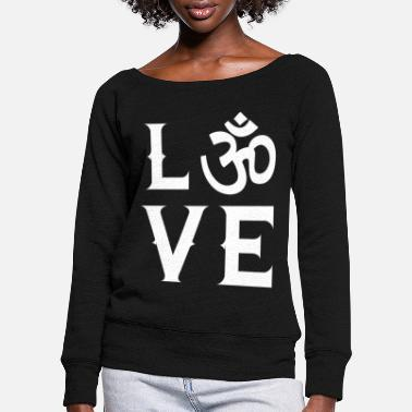 Techno GOA Love Techno Buddhism Zen Symbol - Women's Wide-Neck Sweatshirt