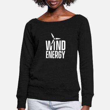 Wind Wind turbine wind energy wind power wind wheel wind - Women's Wide-Neck Sweatshirt