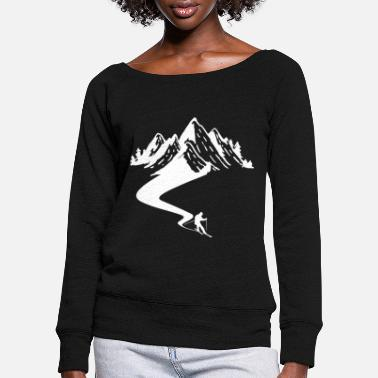 Winter Ski Driver T-Shirt Gift Apre Ski Mountain - Women's Wide-Neck Sweatshirt