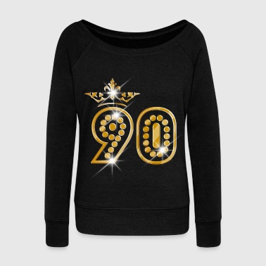 90 - Birthday - Queen - Gold - Burlesque - Women's Boat Neck Long Sleeve Top
