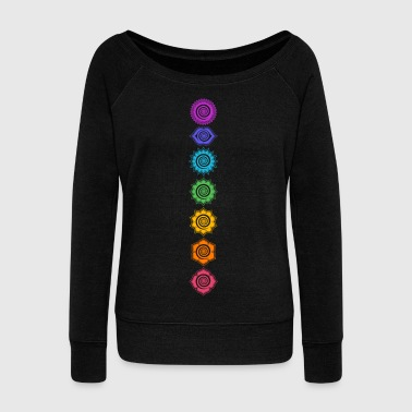 7 Chakras, Kundalini, Cosmic Energy Centers - Women's Boat Neck Long Sleeve Top