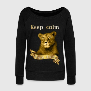 Keep calm Slow Down Gold Animal Collection - Women's Boat Neck Long Sleeve Top