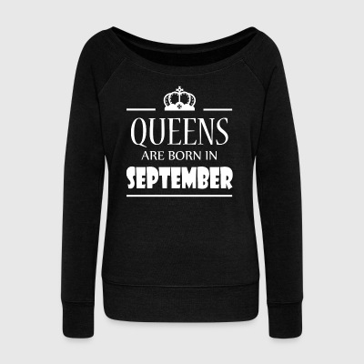 Queens are born in September - Women's Boat Neck Long Sleeve Top