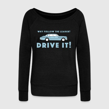 Vintage Plymouth Valiant slogan with car drawing - Women's Boat Neck Long Sleeve Top