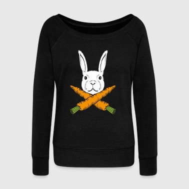 Easter Bunny Skull Bunny Skull Pirate Bunny - Women's Boat Neck Long Sleeve Top