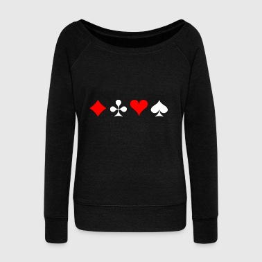 Cards symbols - check cross heart spades - Women's Boat Neck Long Sleeve Top