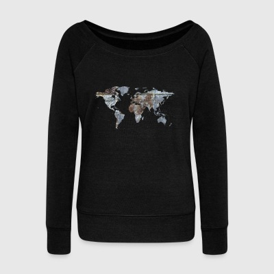 map of the world - Women's Boat Neck Long Sleeve Top
