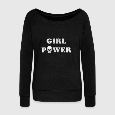 Girl Power Shirt Hippie Gift Shirt Skull - Women's Boat Neck Long Sleeve Top
