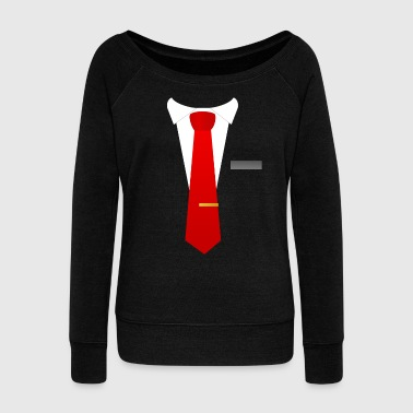 Red tie suit - Women's Boat Neck Long Sleeve Top
