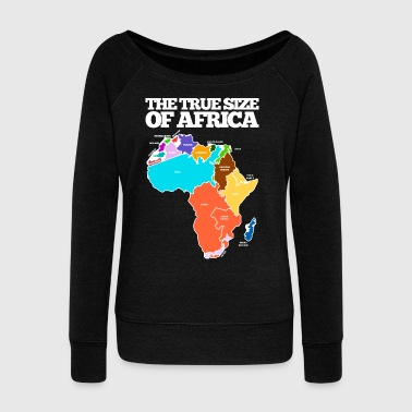 THE TRUE SIZE OF AFRICA - Women's Boat Neck Long Sleeve Top