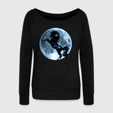 Unicorn, fullmoon, moon, fantasy, magic, space - Women's Boat Neck Long Sleeve Top