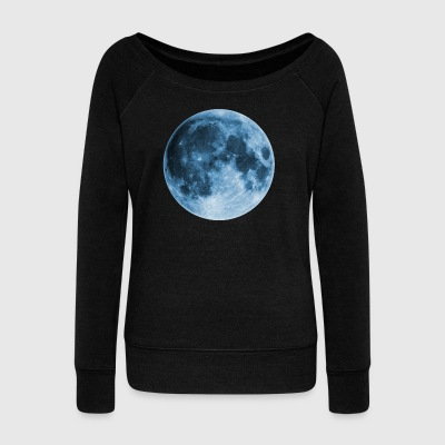 Full Moon, magic, fantasy, night, wicca, space - Women's Boat Neck Long Sleeve Top