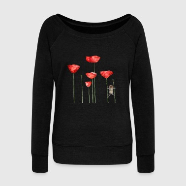 Mouse animal poppy summer funny naughty - Women's Boat Neck Long Sleeve Top
