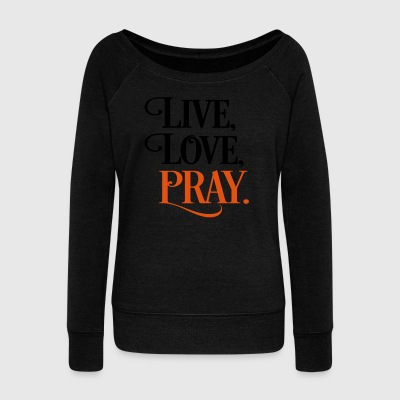 2541614 15903118 pray - Women's Boat Neck Long Sleeve Top