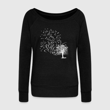 Flock of birds leaves the tree of life - Women's Boat Neck Long Sleeve Top