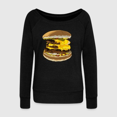 A tasty burger - Women's Boat Neck Long Sleeve Top