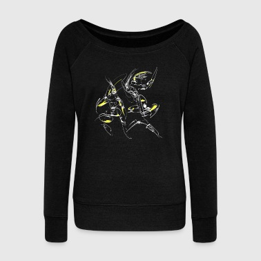 abstract fighter - Women's Boat Neck Long Sleeve Top