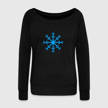 snowflake - Women's Boat Neck Long Sleeve Top