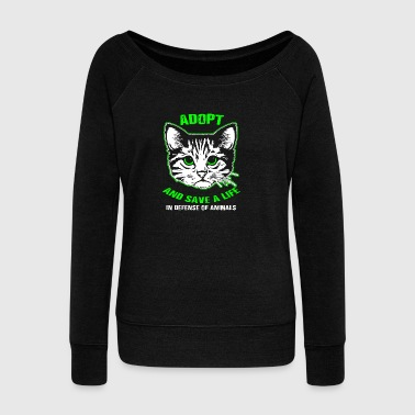 Adopt And Save A Cat's Life - Women's Boat Neck Long Sleeve Top