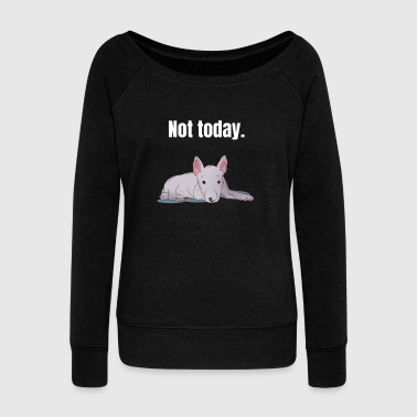 Bull Terrier lazy tired gift - Women's Boat Neck Long Sleeve Top