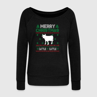 Cute Kids Cattle Ugly Christmas Tshirt - Women's Boat Neck Long Sleeve Top