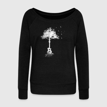 Gift tree guitarist guitar electric guitar eGuitar - Women's Boat Neck Long Sleeve Top