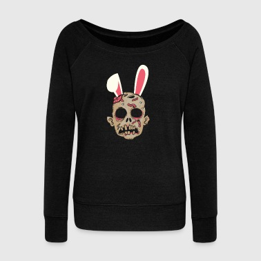I love zombie Easter easter bunny gift - Women's Boat Neck Long Sleeve Top